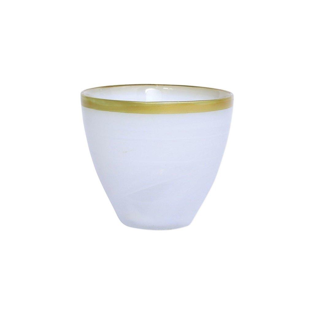 Vietri Rufolo Glass Gold Alabaster Votive
