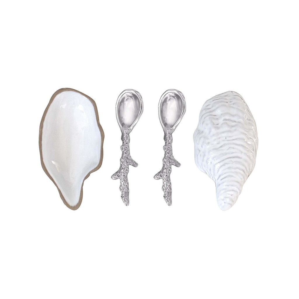 Mariposa Oyster Ceramic Open Salt Spoon Set