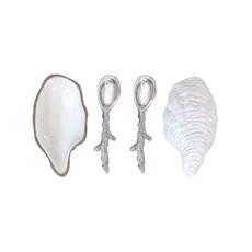 Mariposa Oyster Ceramic Open Salt Spoon Set