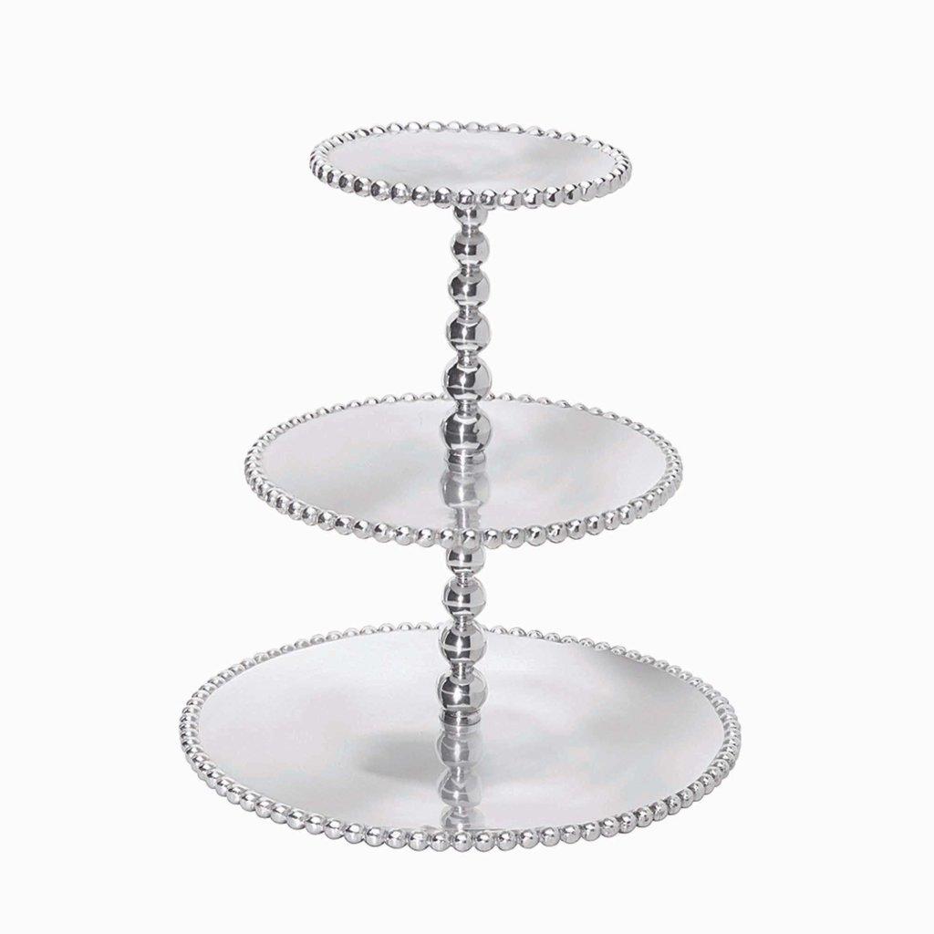 Mariposa Pearled 3 Tiered Cupcake Server