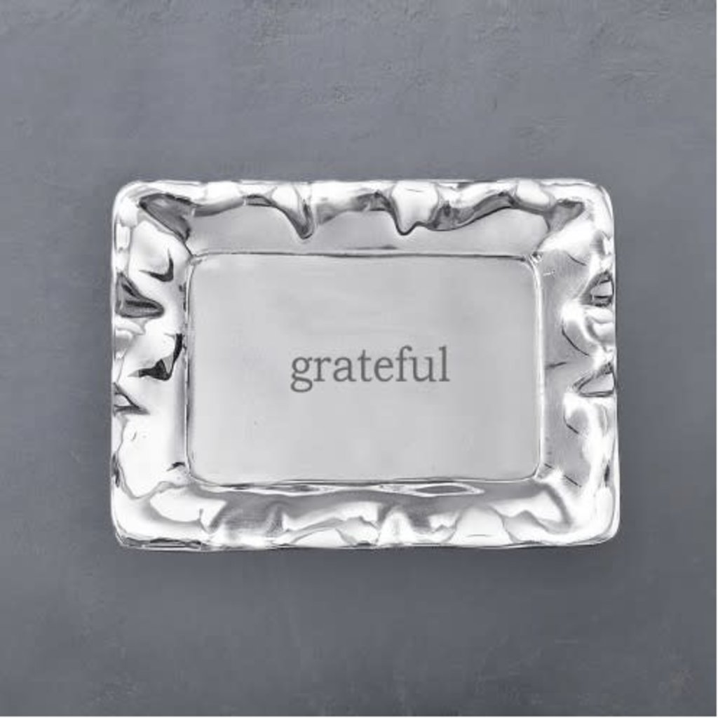 "Beatriz Ball GIFTABLES Vento Rectangular Engraved Tray (""grateful"") - SMALL"