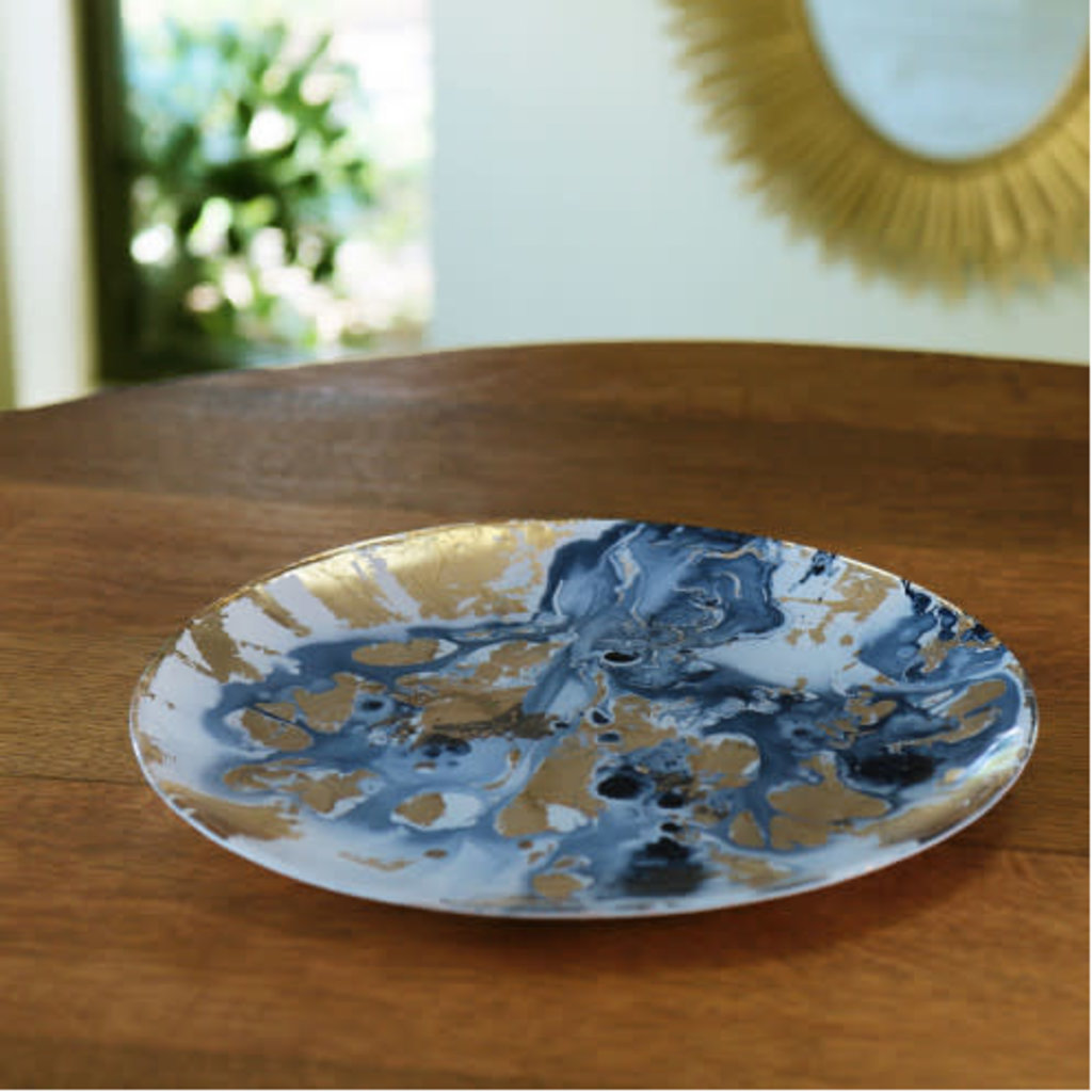 Beatriz Ball NEW ORLEANS Glass Blue and Gold Marble Large Round Platter - LARGE