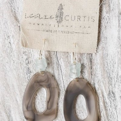 Leslie Curtis Jewelry Designs Hadley - Taupe Oval Resin Earrings