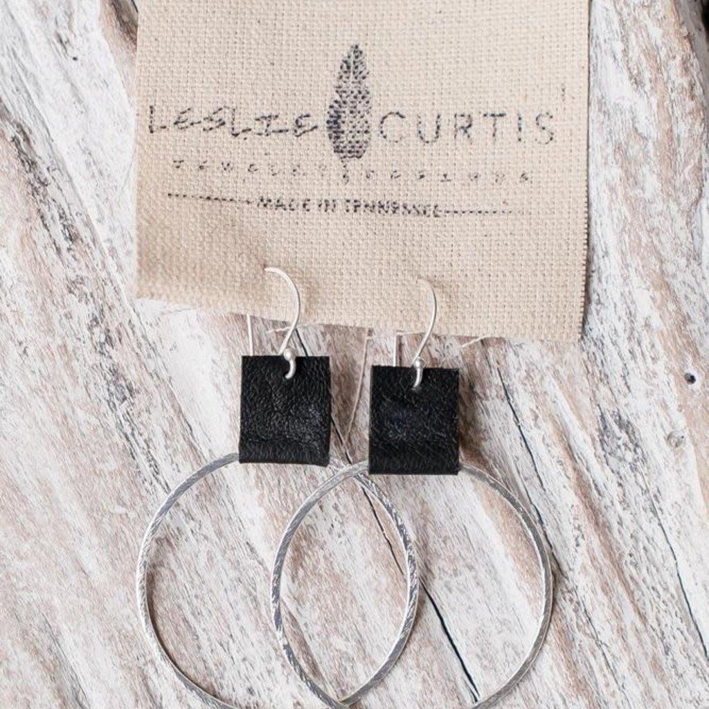 Laura Black - Medium Hoop Earrings with Leather, Black, Gold
