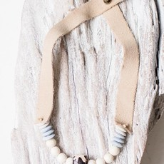 Leslie Curtis Jewelry Designs Rebel - Recycled Glass Necklace, Wooden Beads, Bone, Neutral Suede