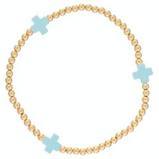 enewton Signature Cross Gold Pattern 3mm Bead Bracelet - Turquoise