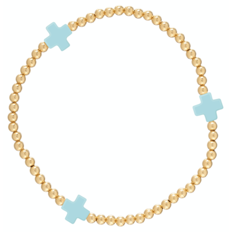 enewton Signature Cross Gold Pattern 3mm Bead Bracelet - Turquoise