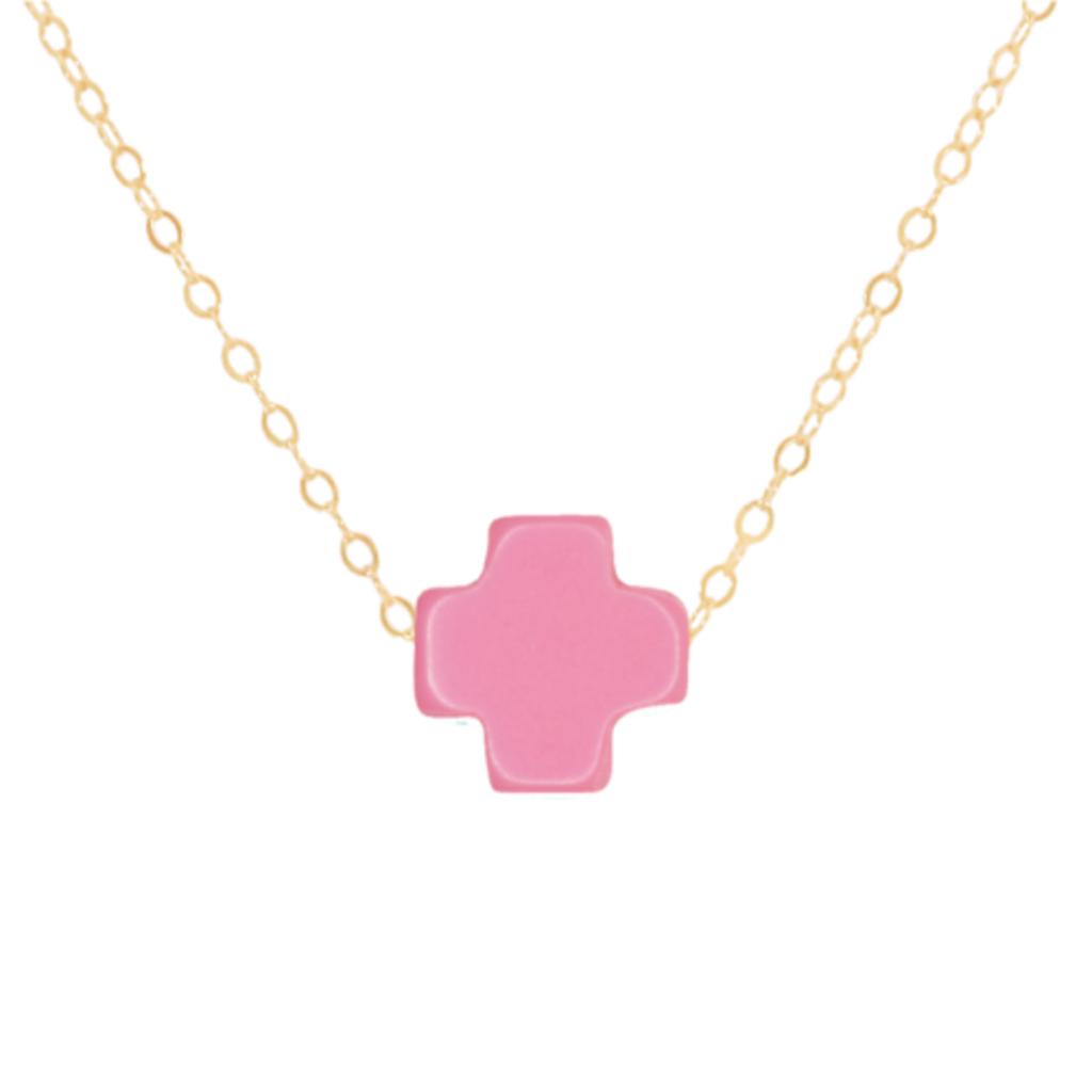 "enewton 16"" Necklace Gold -Signature Cross Bright Pink"