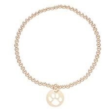 enewton Classic Gold 3mm Bead Bracelet Paw Print