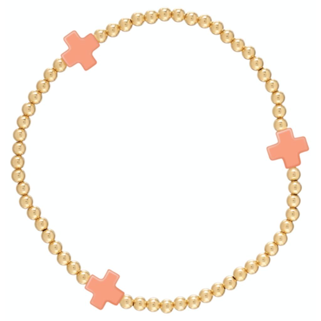 enewton Signature Cross Gold Pattern 3mm Bead Bracelet - Coral
