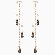 Swarovski NAUGHTY CHANDELIER PIERCED EARRINGS, BLACK, ROSE-GOLD TONE PLATED