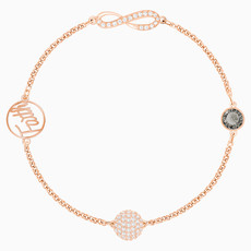Swarovski SWAROVSKI REMIX COLLECTION INFINITY STRAND, BLACK, ROSE-GOLD TONE PLATED - SIZE MEDIUM