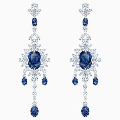Swarovski PALACE CHANDELIER PIERCED EARRINGS, BLUE, RHODIUM PLATED