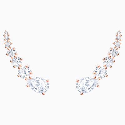 Swarovski PENÉLOPE CRUZ MOONSUN PIERCED EARRINGS, WHITE, ROSE-GOLD TONE PLATED