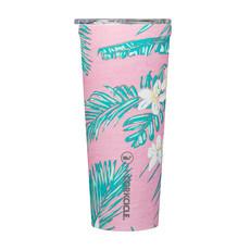 Corkcicle 24 Ounce Vineyard Vines Pink Tropical Flowers Tumbler