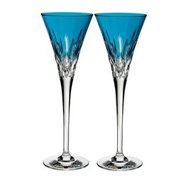 Waterford Lismore Pops Aqua Toasting Flute, Pair