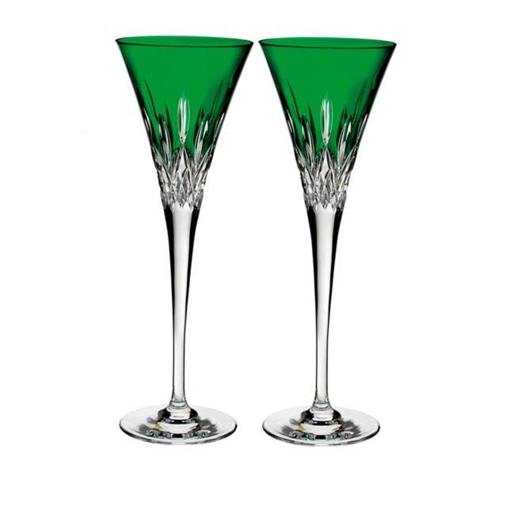 Waterford Lismore Pops Emerald Toasting Flute, Pair
