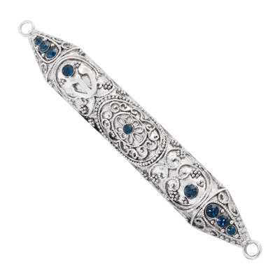 "Olivia Riegel SILVER WINDSOR 6"" MEZUZAH WITH SAPPHIRE CRYSTALS"