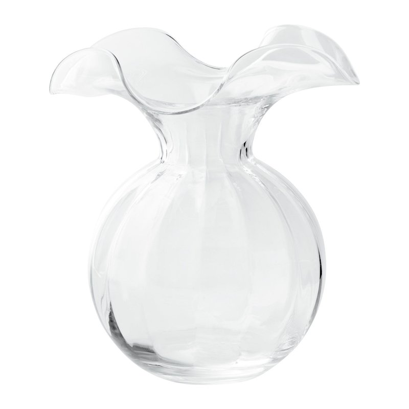 Vietri HIBISCUS GLASS CLEAR  MEDIUM FLUTED VASE
