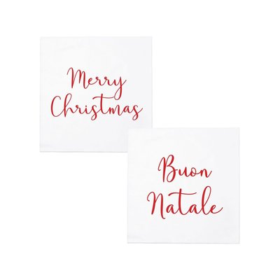 Vietri PAPERSOFT NAPKINS MERRY CHRISTMAS/BUON NATALE COCKTAIL NAPKINS