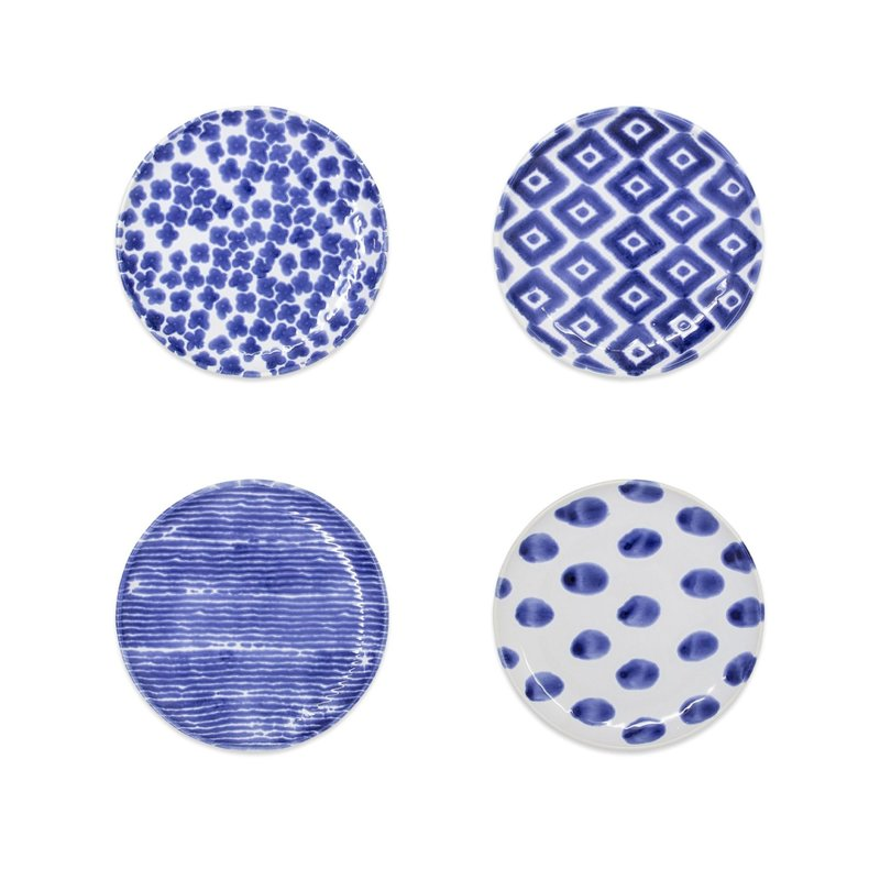 Vietri SANTORINI ASSORTED COCKTAIL PLATES - SET OF 4