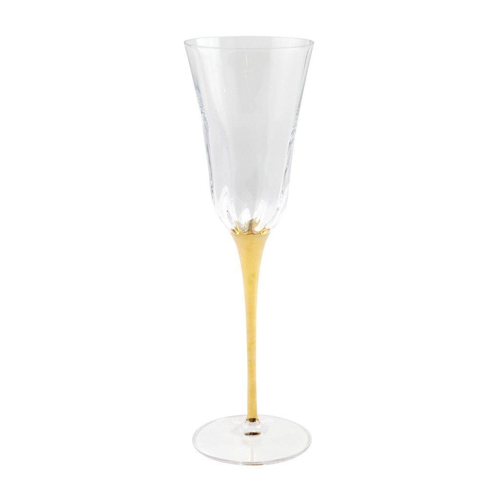 Vietri OPTICAL GOLD STEM CHAMPAGNE GLASS