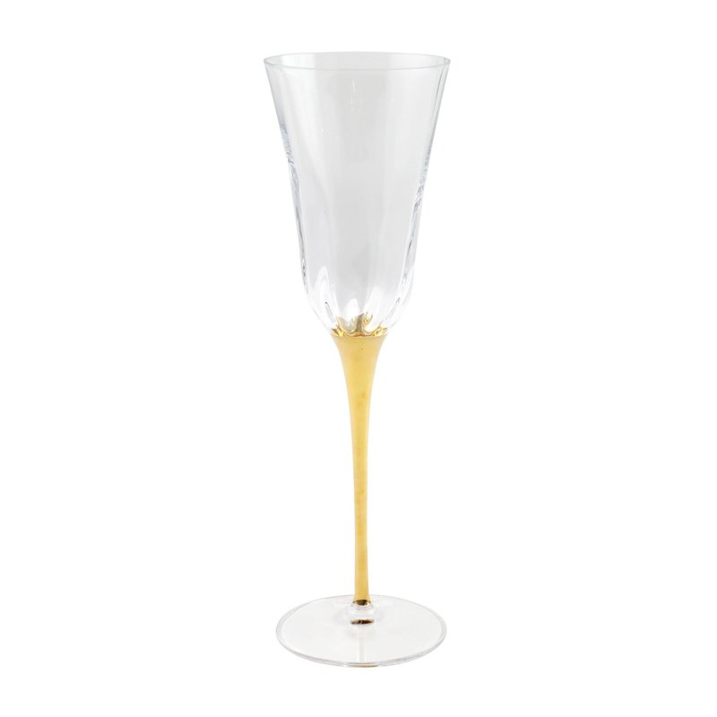 Vietri OPTICAL GOLD STEM CHAMPAGNE GLASS