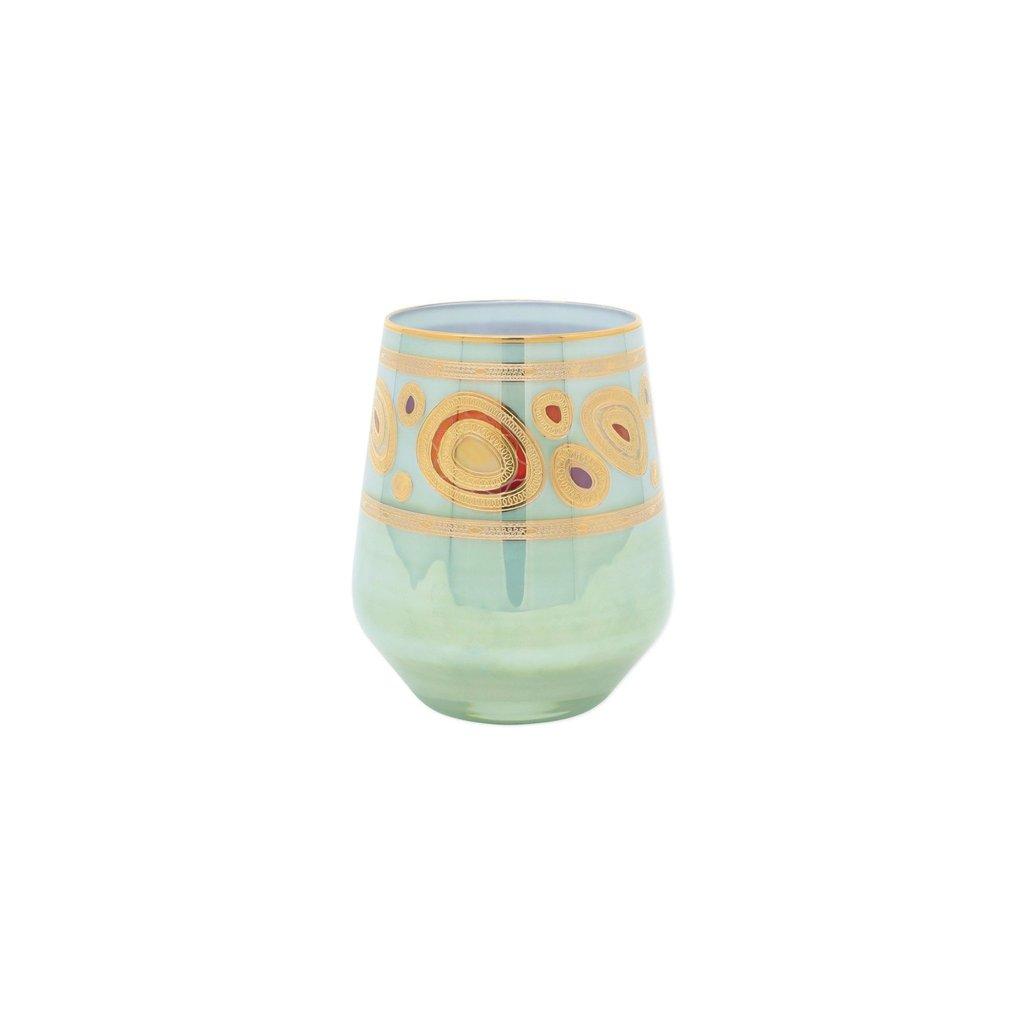 Vietri REGALIA AQUA STEMLESS WINE GLASS