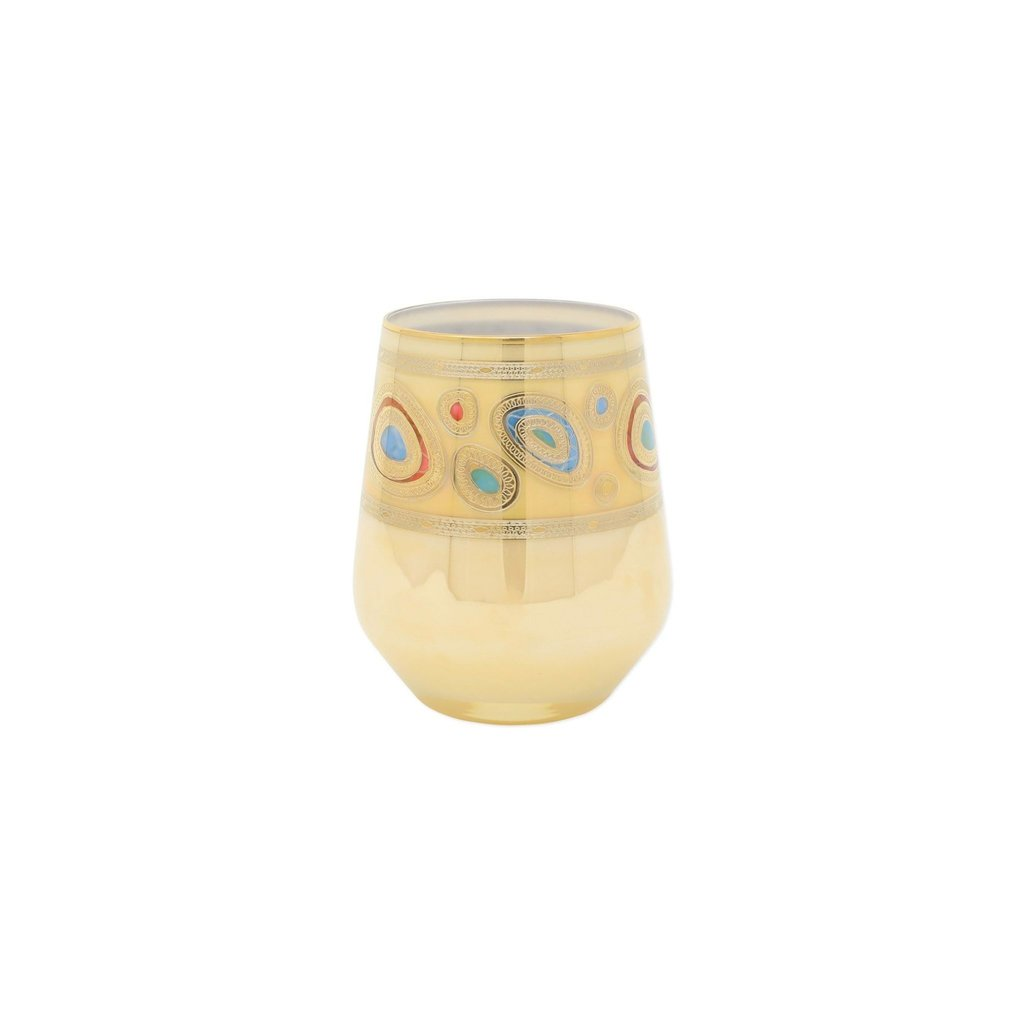 Vietri REGALIA CREAM STEMLESS WINE GLASS