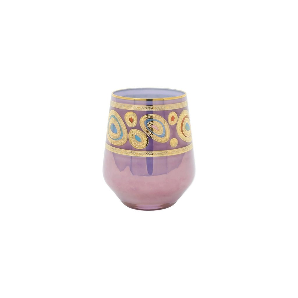 Vietri REGALIA PURPLE STEMLESS WINE GLASS