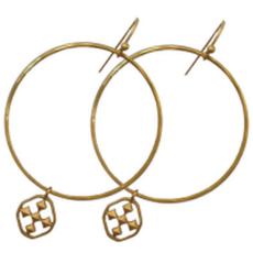 """Gracewear 1 1/2"""" Round Hammered Hoop-Worn Gold"""