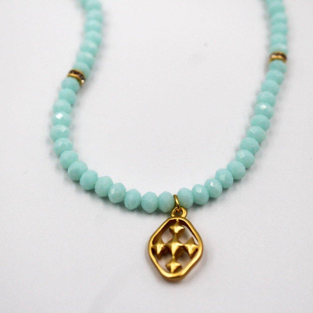 Gracewear Faithworks Beaded Necklace-Turquoise/Gold