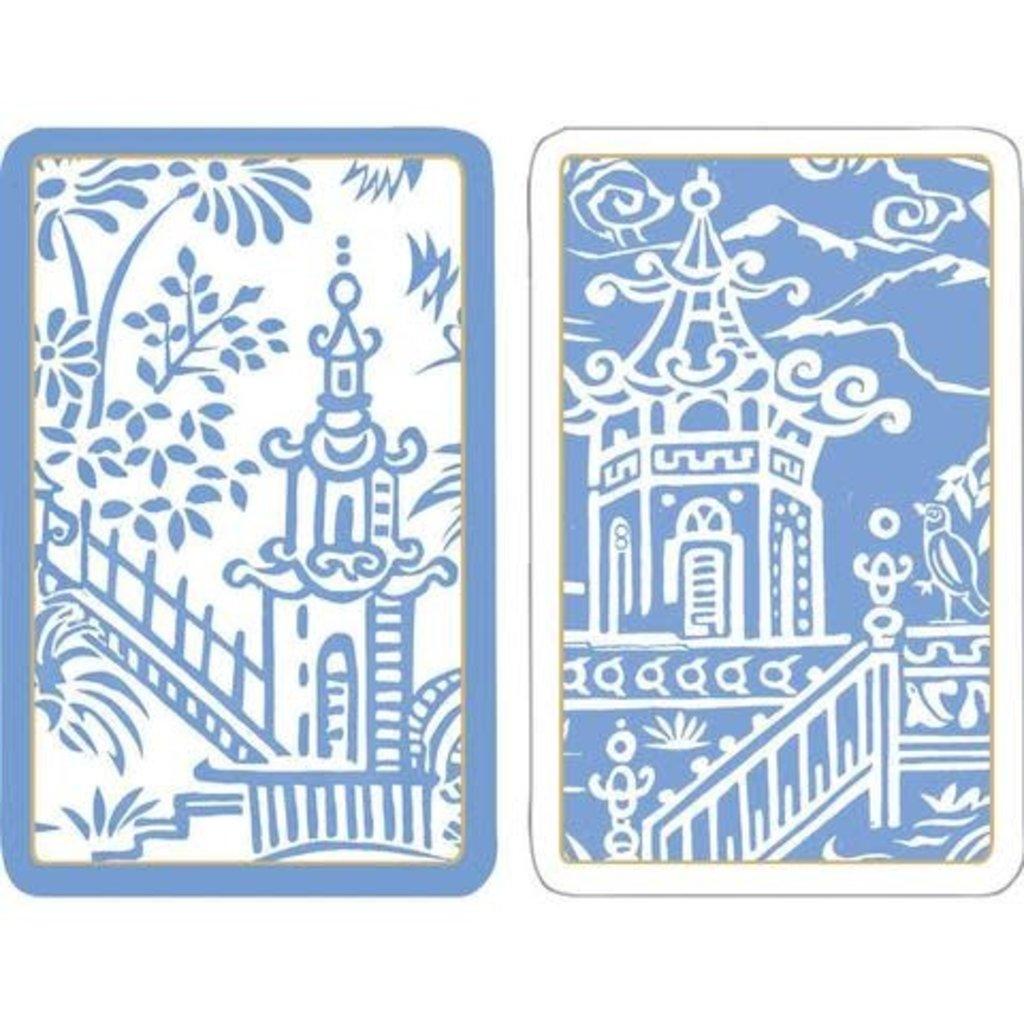 Caspari Pagoda Toile Large Type Playing Cards