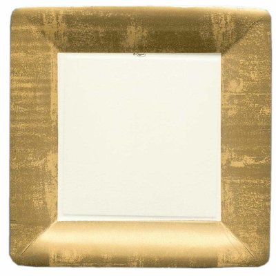 Caspari Gold Leaf Square Paper Dinner Plates in Ivory
