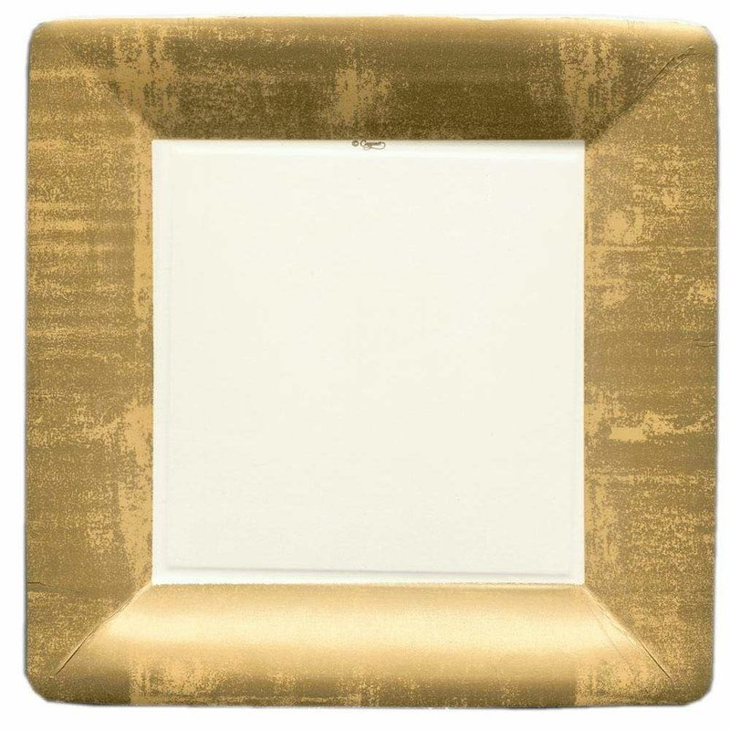 Caspari Gold Leaf Square Paper Dinner Plates in Ivory