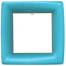 Caspari Grosgrain Square Paper Dinner Plates in Mediterranean Blue