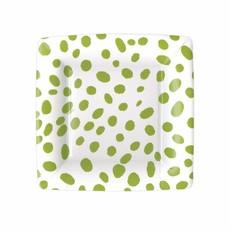 Caspari Spots Square Paper Salad & Dessert Plates in Green