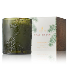 Thymes Frazier Fir Poured Candle, Molded Green Glass