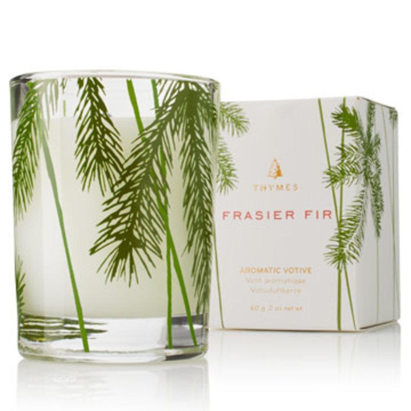 Thymes Frasier Fir Votive Candle, Pine Needle Design