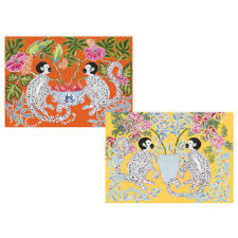 Caspari Monkeys Boxed Note Cards - 8 Note Cards & 8 Envelopes
