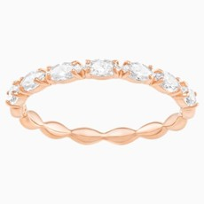 Swarovski VITTORE MARQUISE RING, WHITE, ROSE-GOLD TONE PLATED, SIZE 55