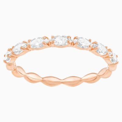 Swarovski VITTORE MARQUISE RING, WHITE, ROSE-GOLD TONE PLATED, SIZE 58