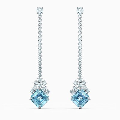 Swarovski SPARKLING LINEAR PIERCED EARRINGS, AQUA, RHODIUM PLATED