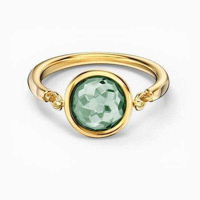 Swarovski TAHLIA RING, GREEN, GOLD-TONE PLATED, SIZE 55