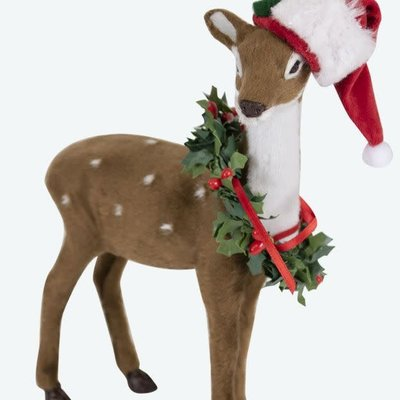 Byers Choice Reindeer With Santa Hat and Wreath
