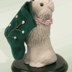 Byer's Choice Byers Carolers Poodle with Stocking