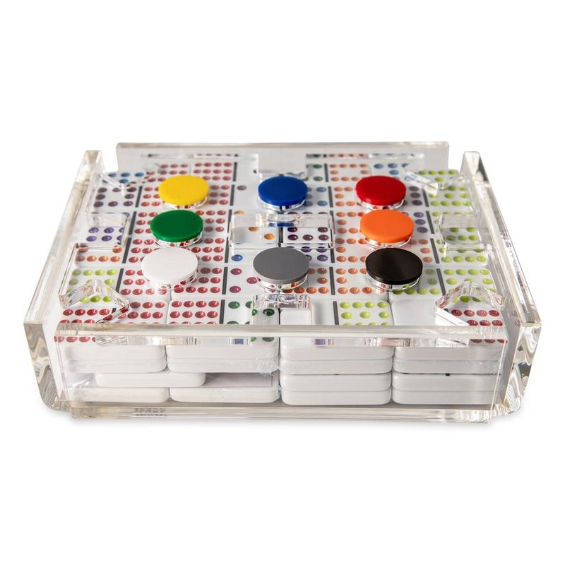 Luxe Dominoes Mexican Luxe Double Train Set, Clear