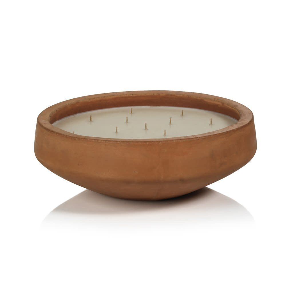 Zodax San Miguel Outdoor Concrete Scented Candle - Terracotta Finish - 16 wicks; Ger. Leaf & Mex Spice