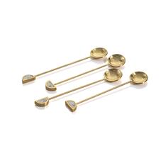 Zodax S/4 Fez Small Tea Spoons-Gold&White