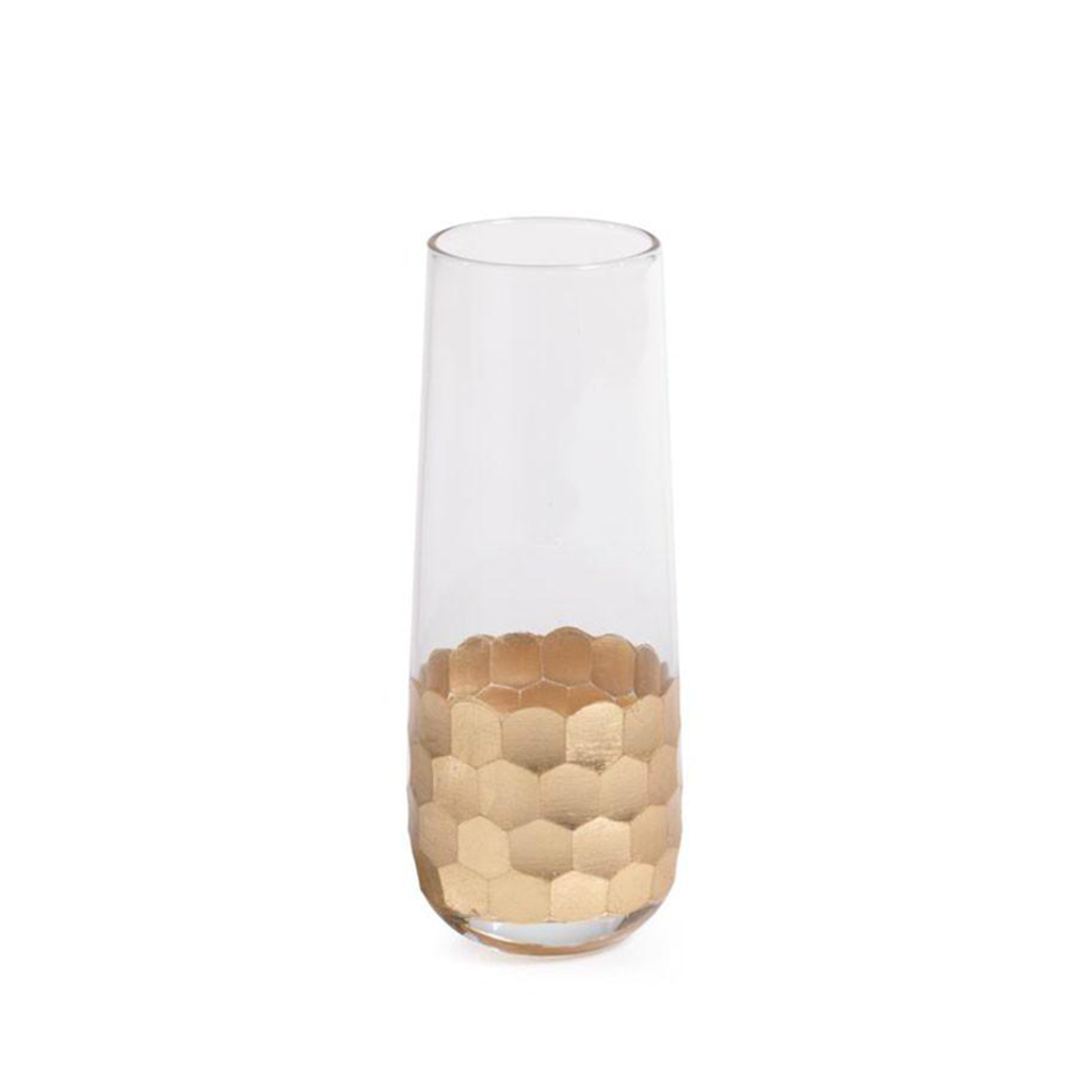 Zodax Fez Cut Stemless Champagne Glass With Gold Leaf